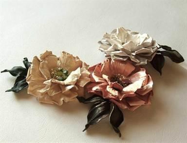 Как сделать цветок из кожи мастер класс 765