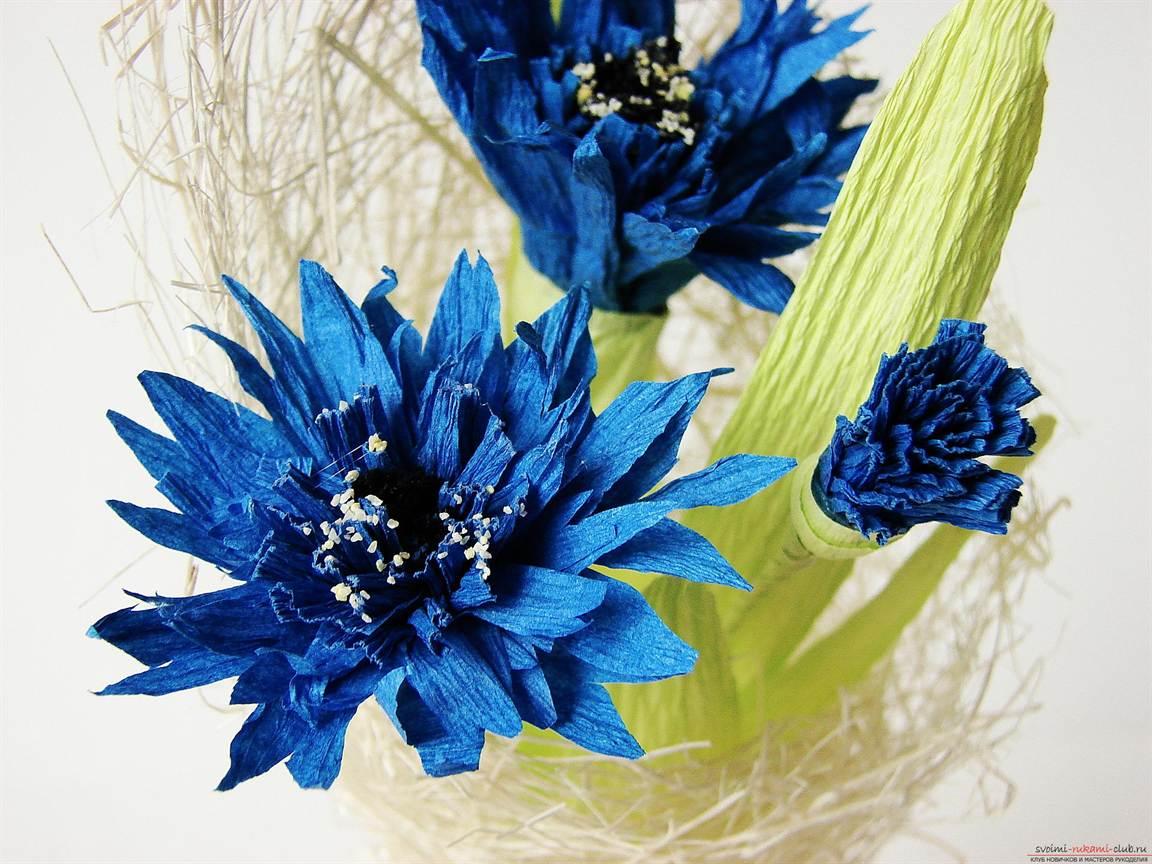 Цветы из бумаги своими руками василек