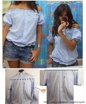 c71002971a8 Теперь нужно обрезать нижнюю часть рубашки. Обрез тоже можно сделать  сдержанным и строгим для походов на работу
