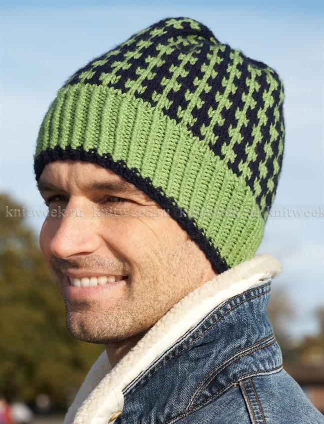 схема мужской шапки спицами вязаная шапка ушанка для мужчины с фото