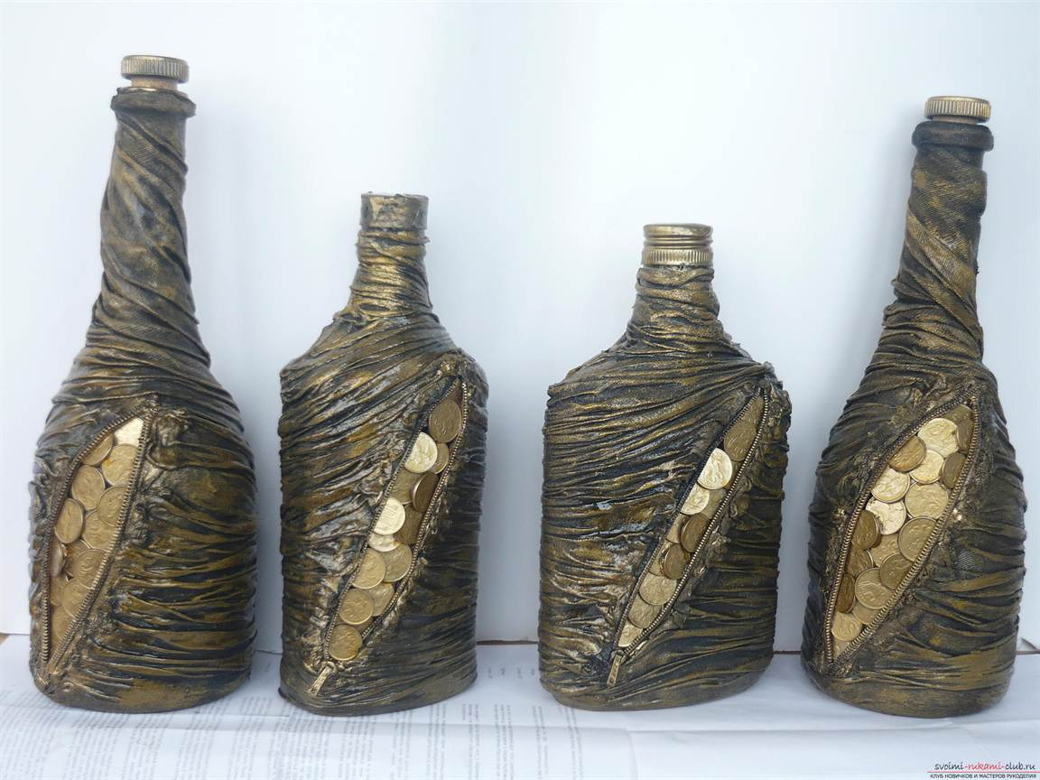 Оригинальное оформление бутылки своими руками фото 89
