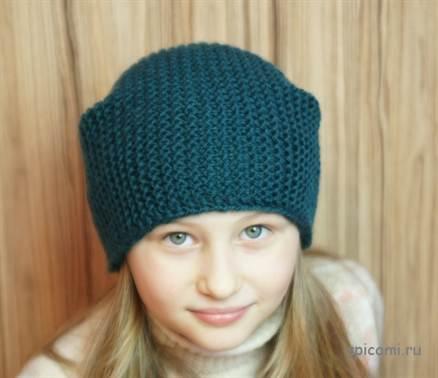 шапка платочной вязкой спицами для малыша со схемами и описанием