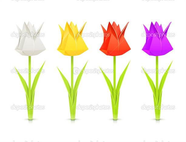 set of tulips paper origami flowers vector illustration isolated on white background EPS10. Transparent objects and opacity masks used for shadows and lights drawing