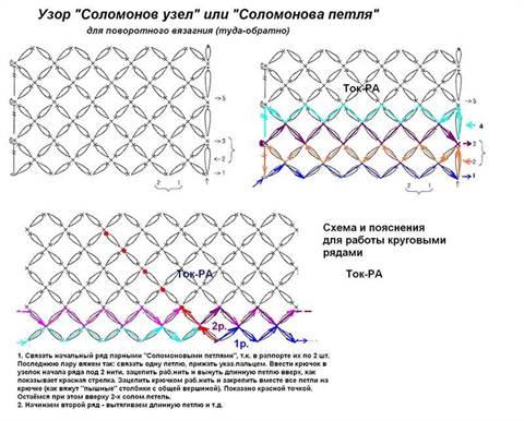соломонов узел крючком схемы шали с видео и фото