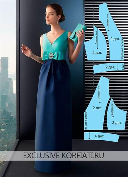 6871b6f01ef Выкройка платья в пол с завышенной талией и с открытой спиной с фото ...