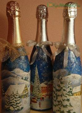 декупаж бутылок с шампанским